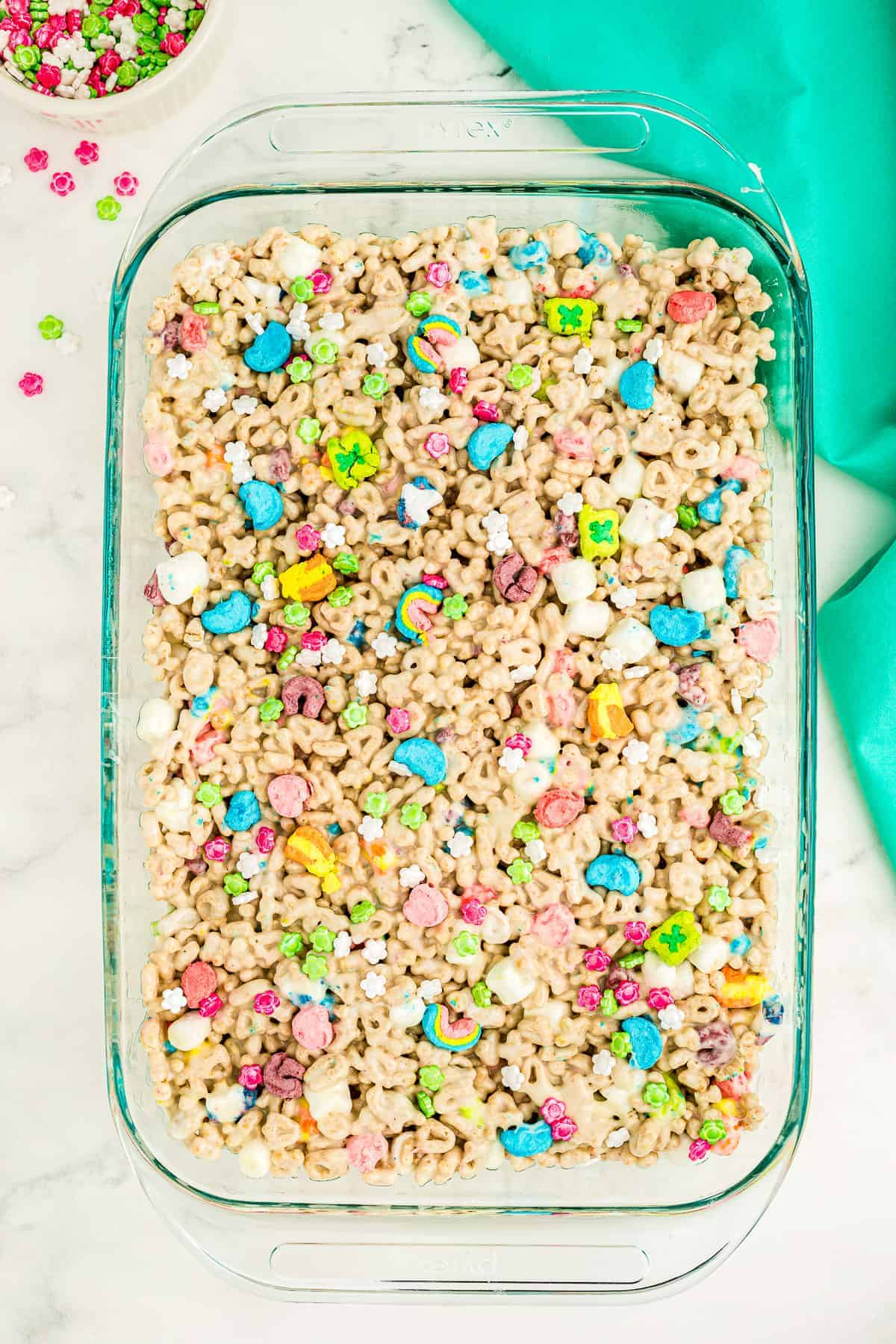 Overhead image of a pan of Lucky Charms treats