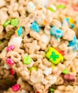 Close up picture of Lucky Charms Treats in a stack