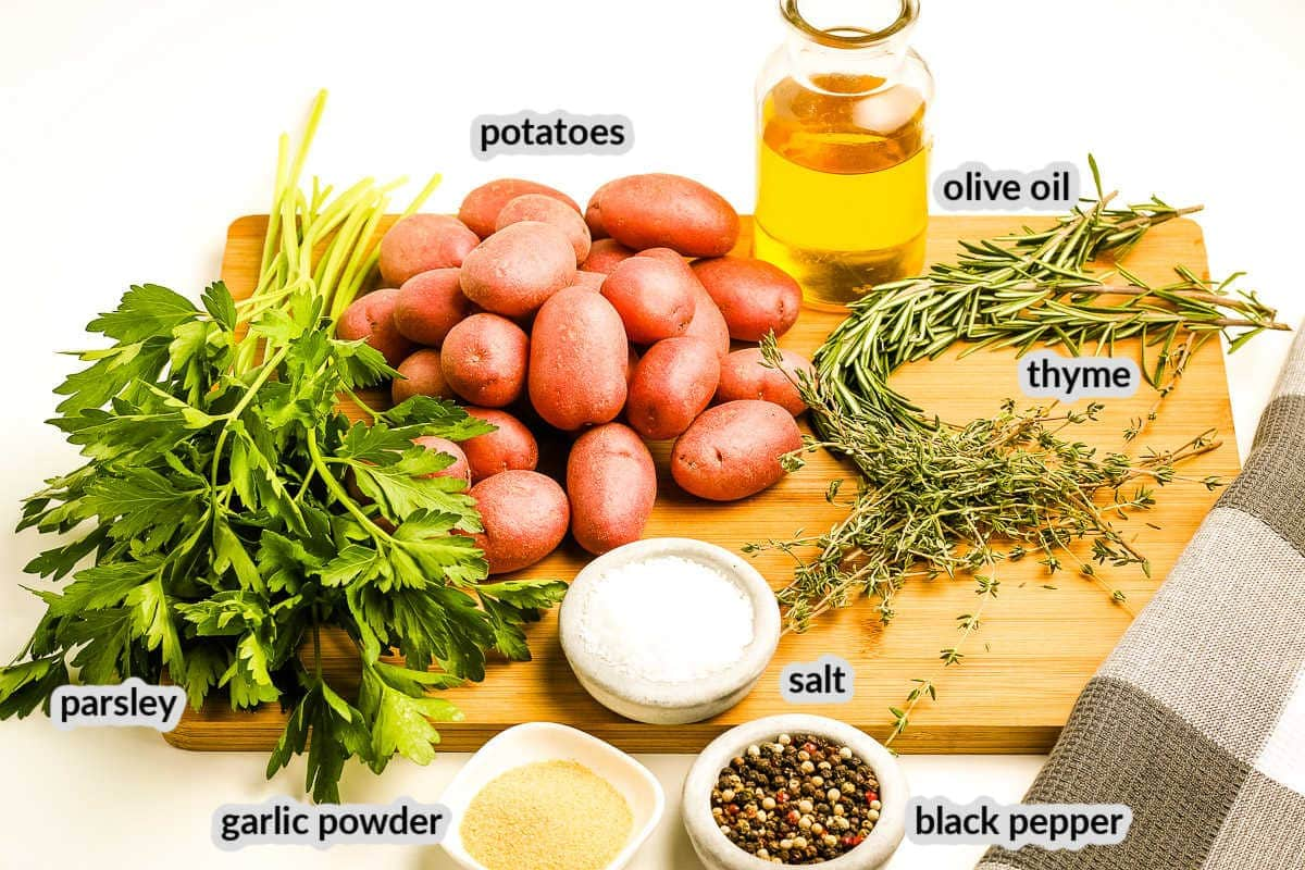 Ingredients with labels for Oven Roasted Potatoes