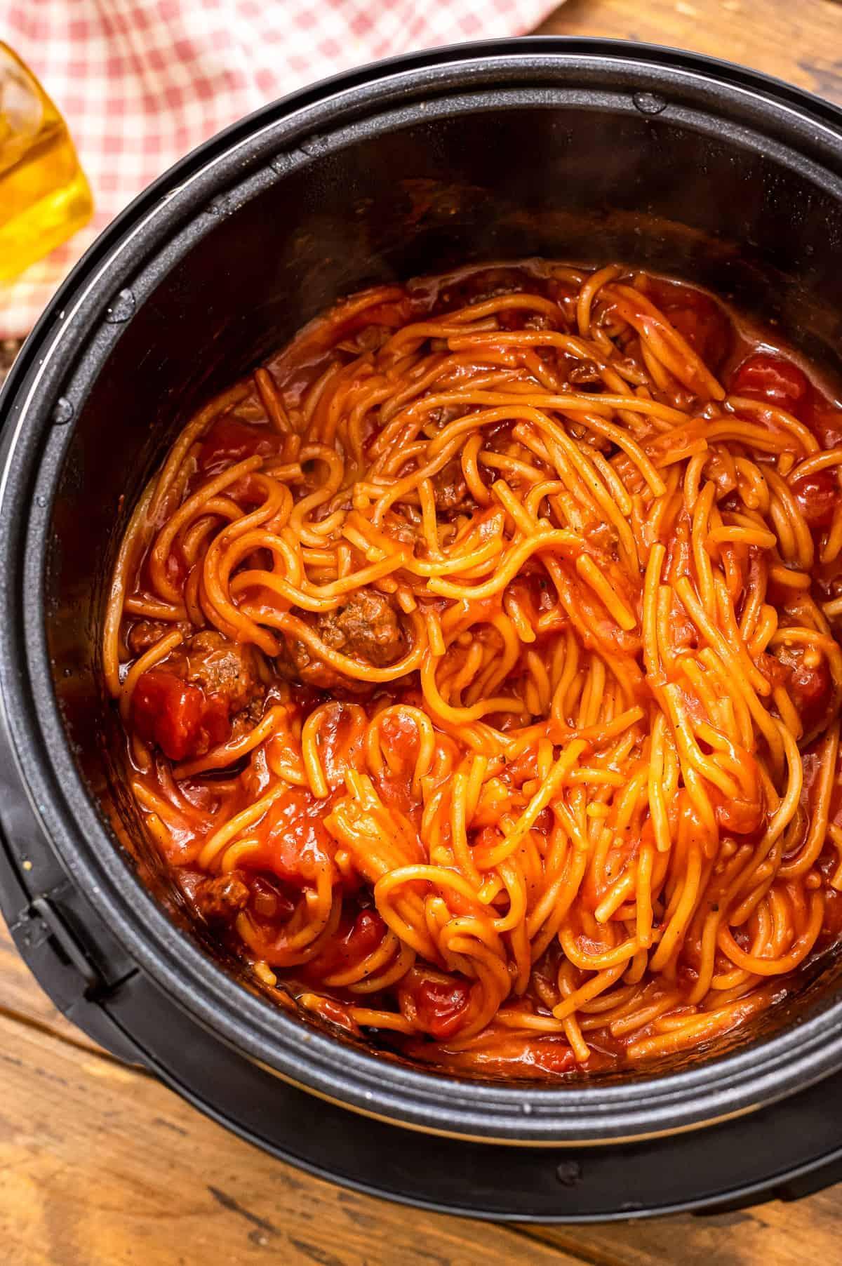 Prepared Spaghetti and Meatballs in Instant Pot