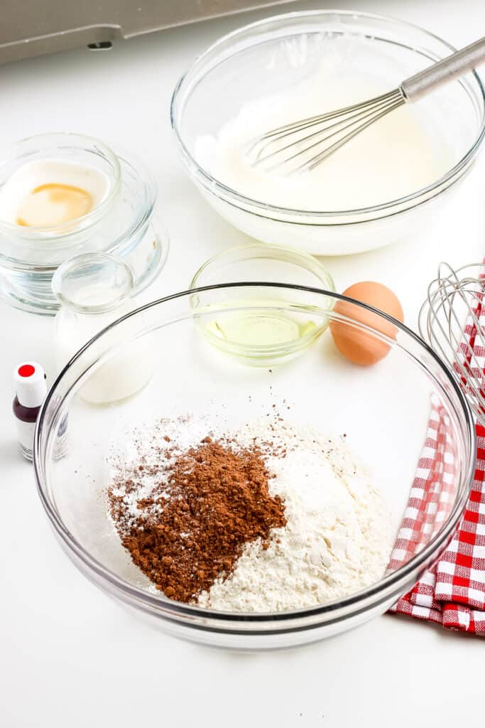Dry ingredients for red velvet pancakes before mixing