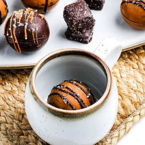 Close up image of Salted Caramel Hot Chocolate Bomb in mug