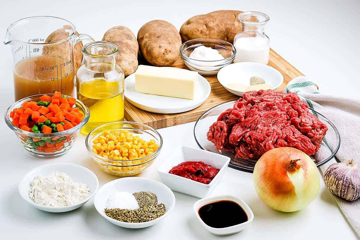 Shepherds Pie Ingredients in small bowl