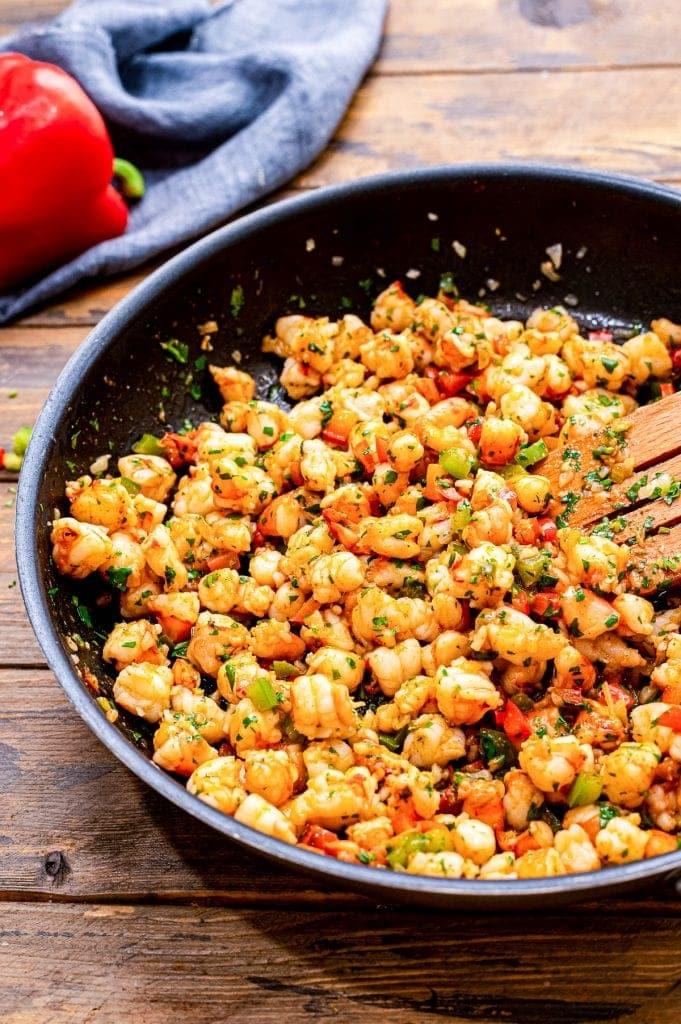 Skillet with shrimp filling for enchiladas