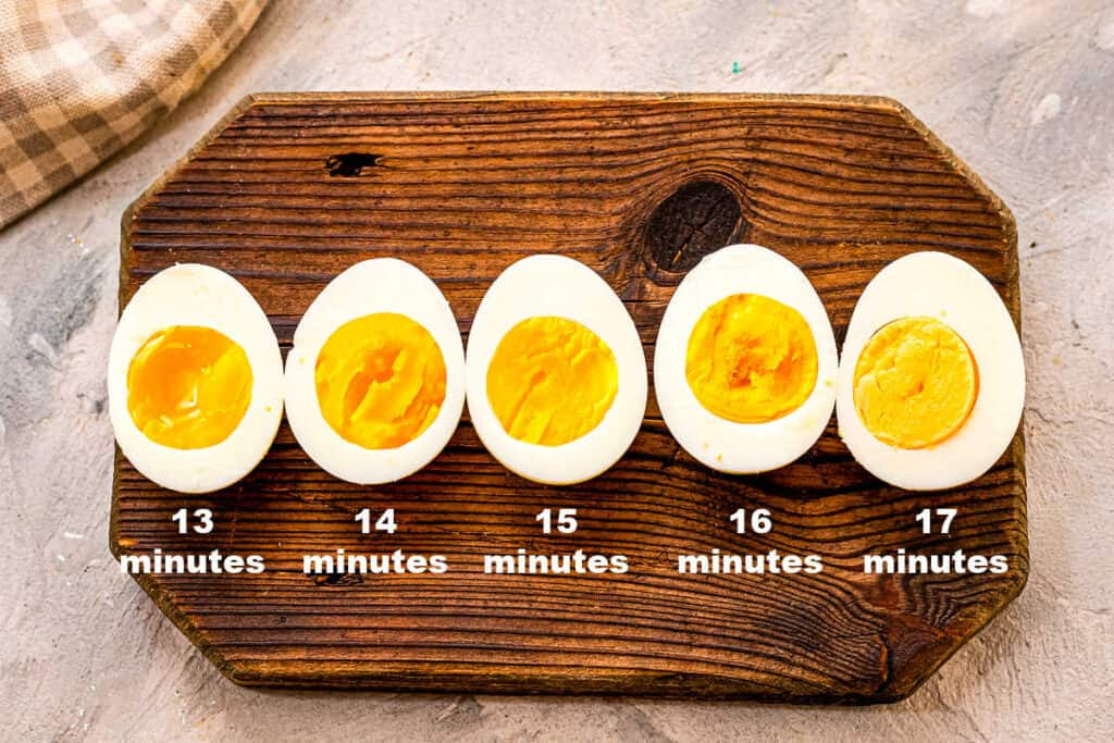 Air Fryer Hard Boiled Eggs with Times of cooking under the egg