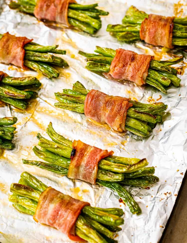 Bacon Wrapped Green Beans Recipe on a sheet pan with foil