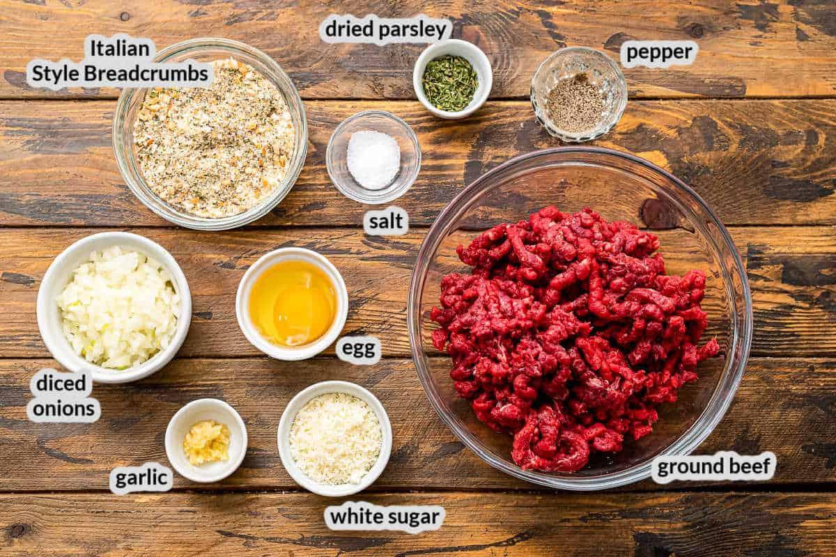 Overhead image of Baked Meatballs Ingredients