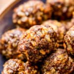 Close up image of Baked Meatballs in bowl