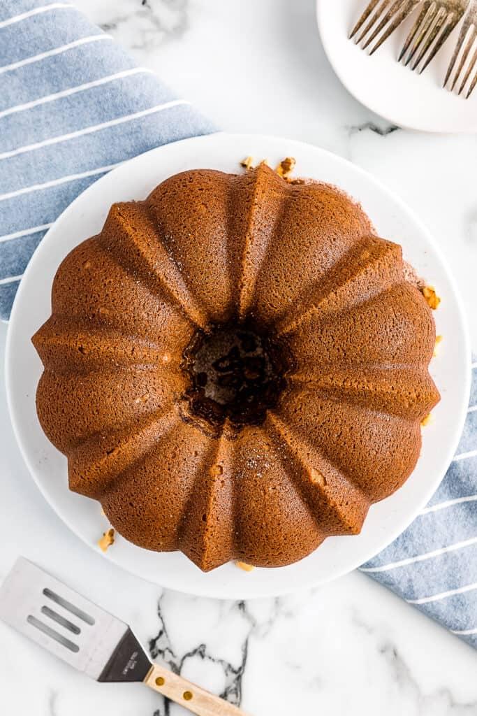 Overhead image of Bundt Coffee Cake Baked on plate