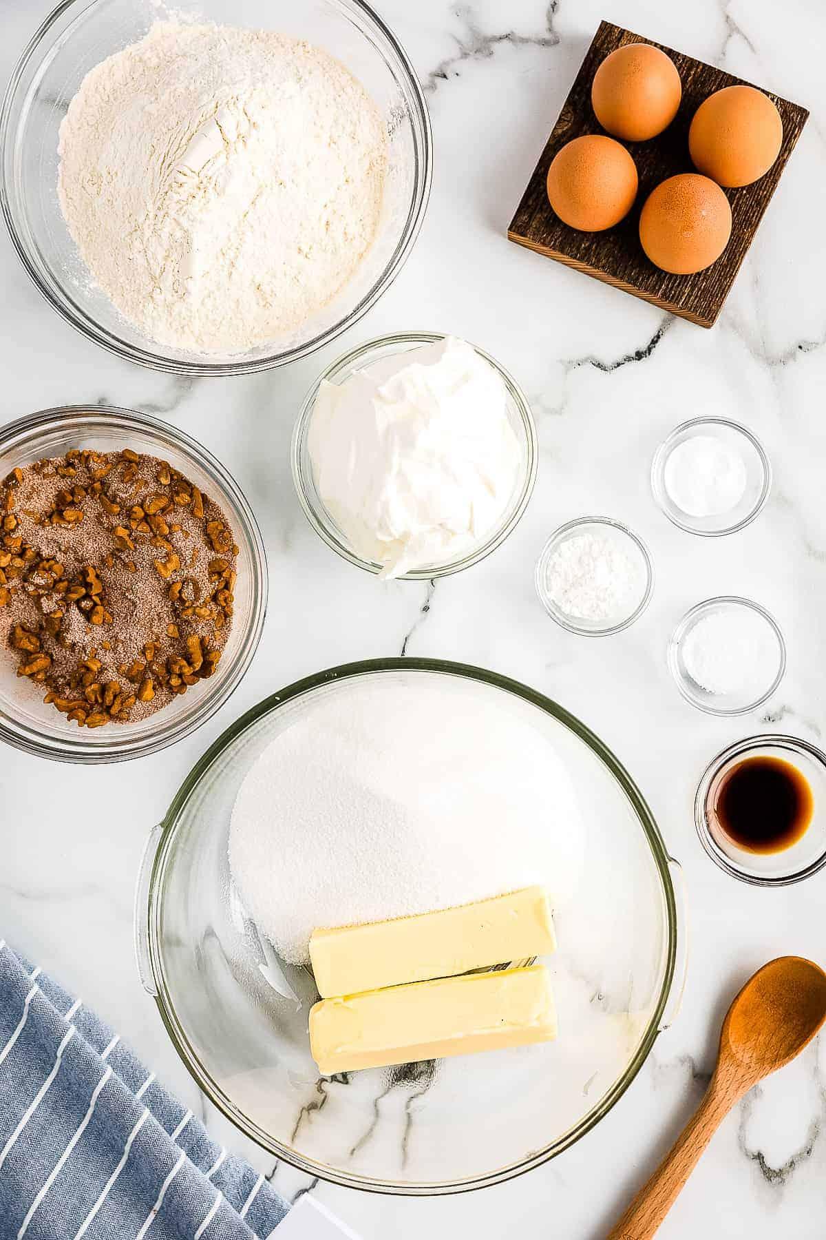 Bundt Coffee Cake Butter Sugar in glass bowl