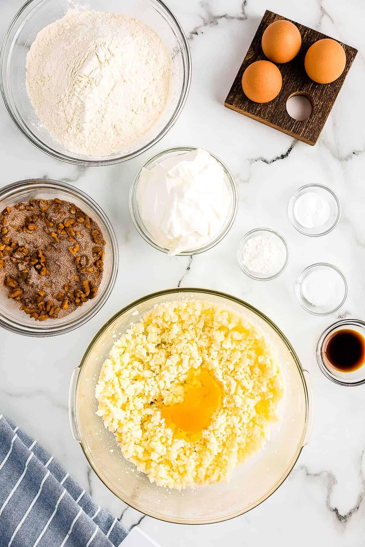 Bundt Coffee Cake adding Egg to creamed mixture