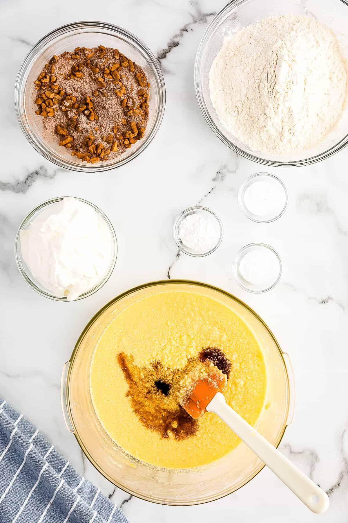 Bundt Coffee Cake Vanilla added to creamed mixture