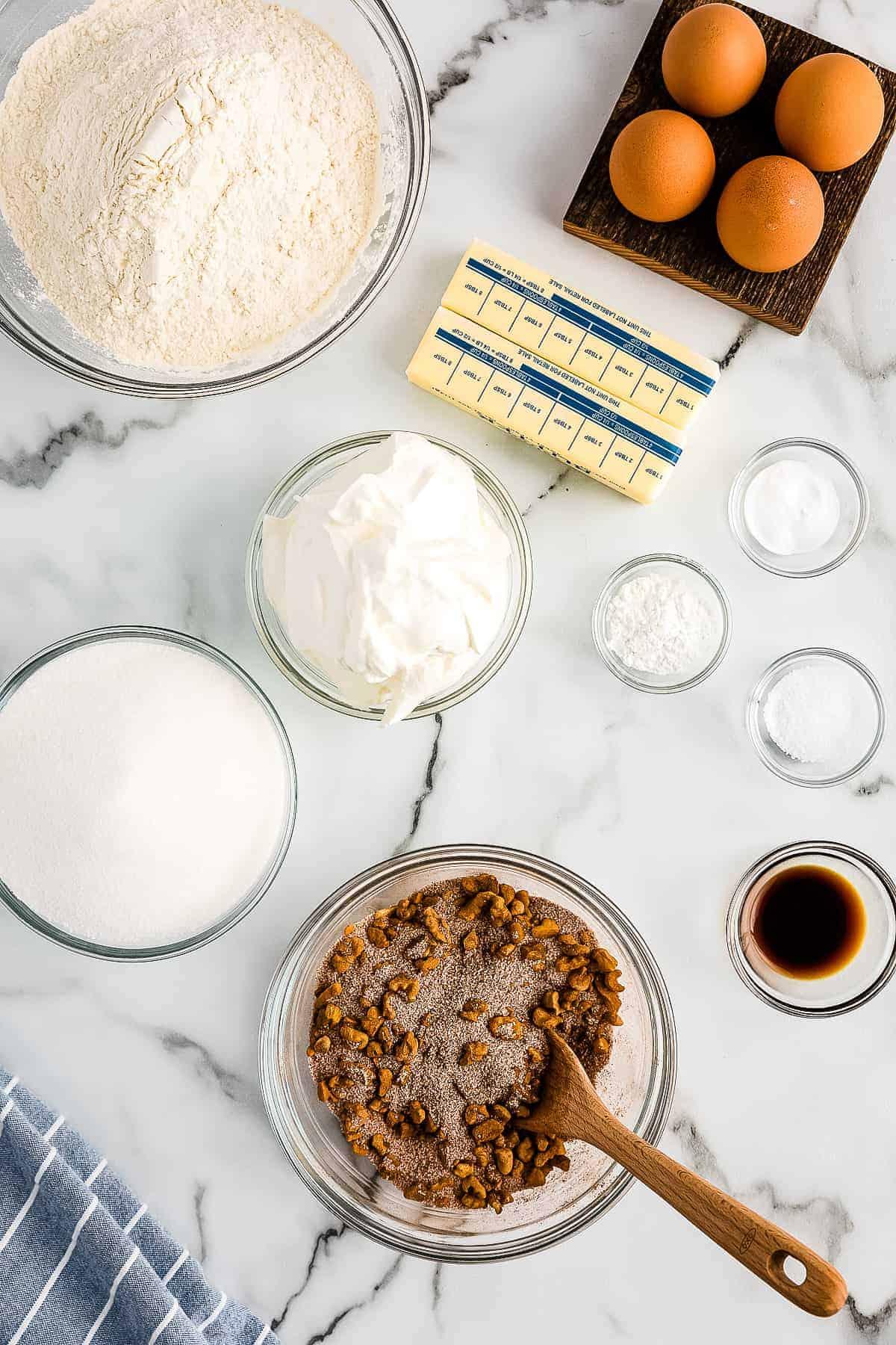 Bundt Coffee Cake Walnut Mixture in glass bowl