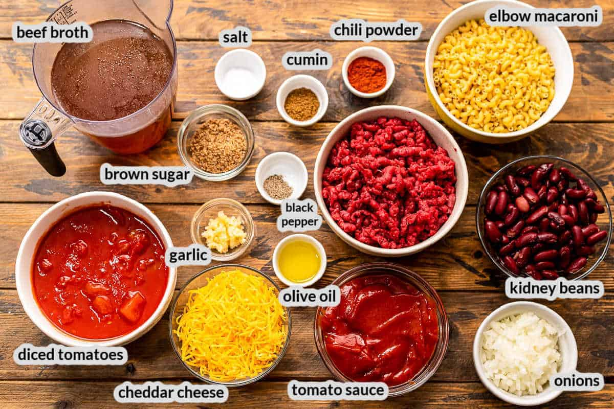 Overhead Image of Chili Mac Ingredients in bowls