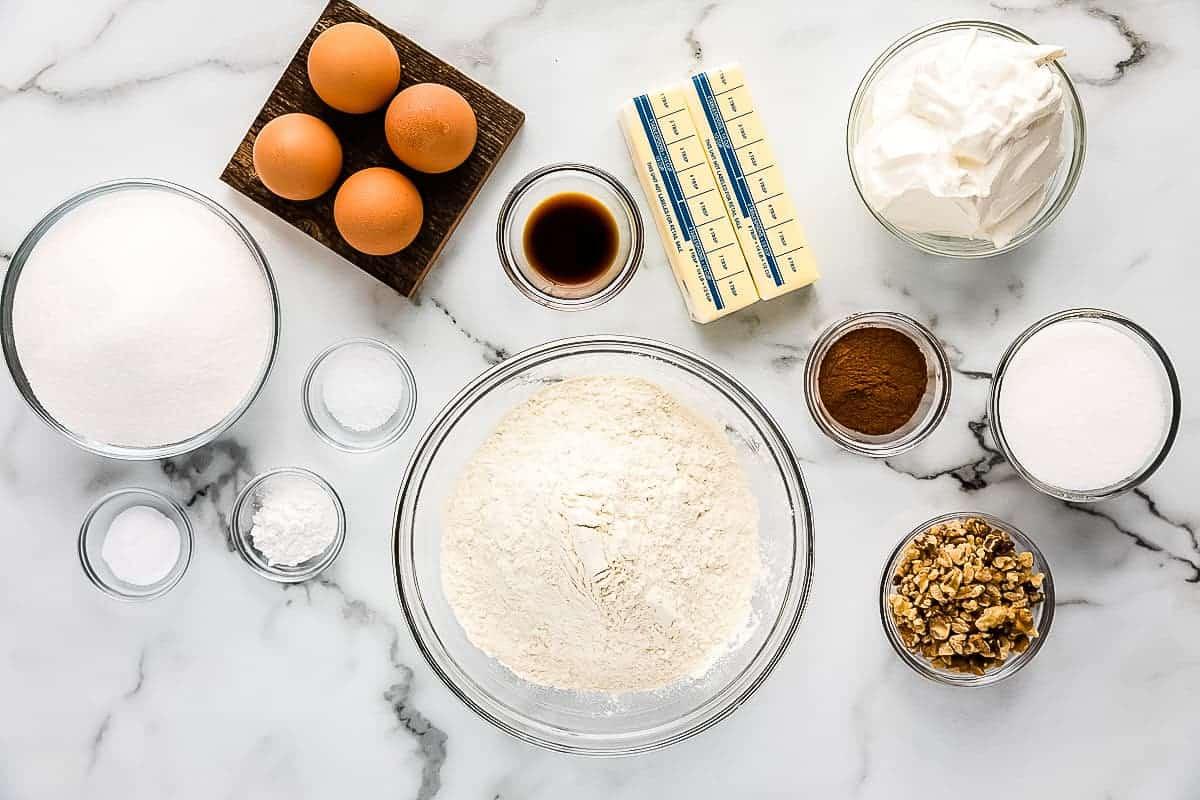 Overhead Image of Coffee Cake Ingredients