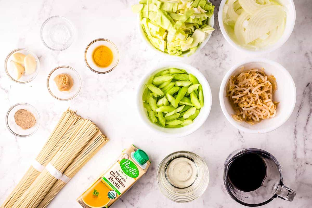 Overhead image of panda express chow mein ingredients