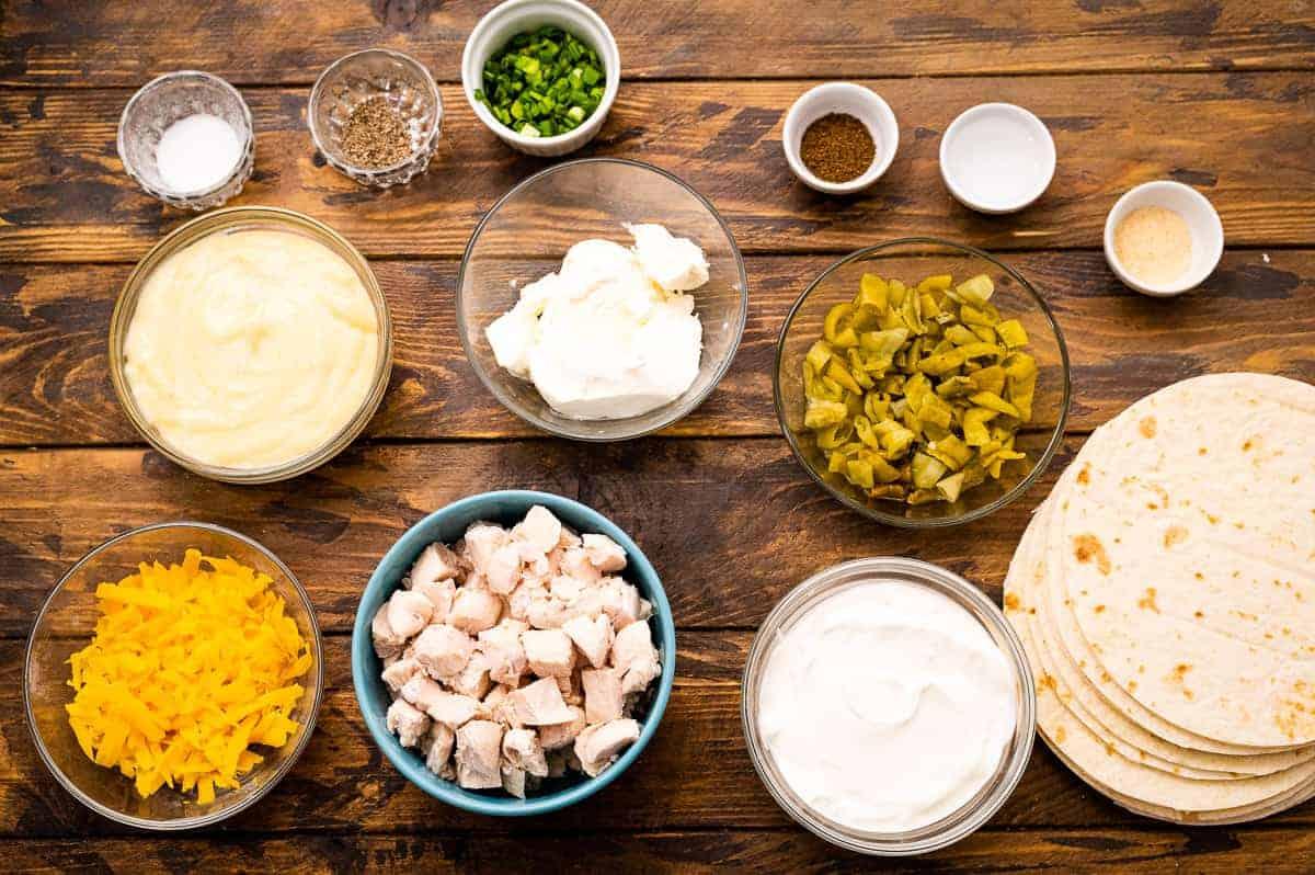 Overhead image of Creamy Chicken Enchiladas Ingredients