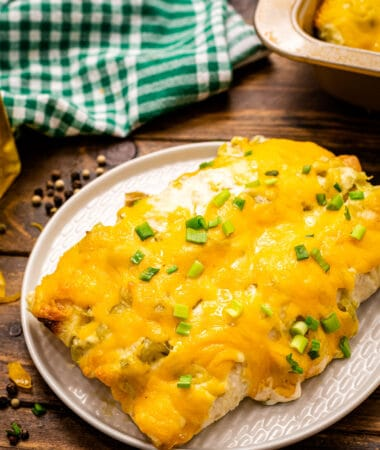 Creamy Chicken Enchiladas are on a white plate