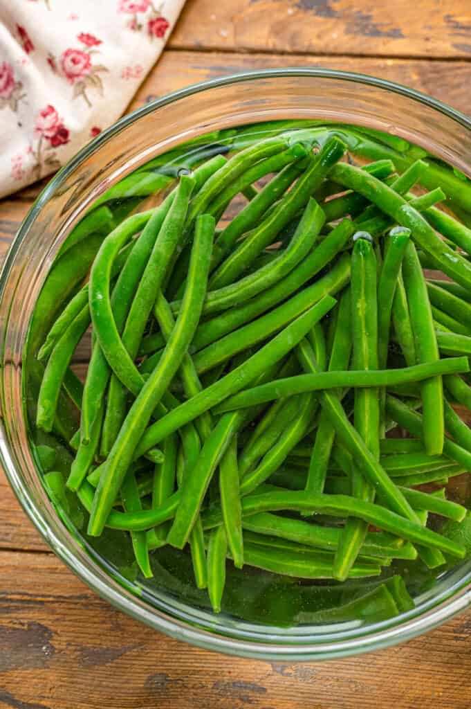Green Bean Cold Water Bath in glass bowl