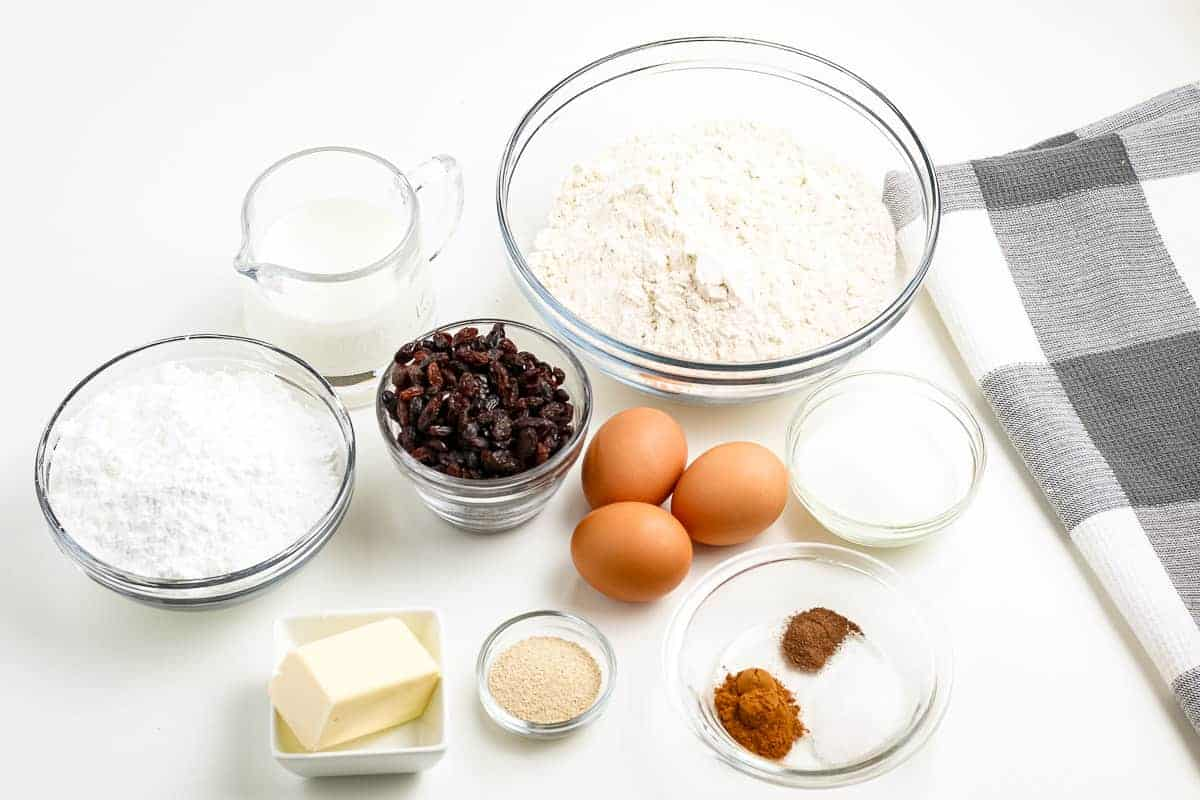 Hot Cross Buns Ingredients in bowls