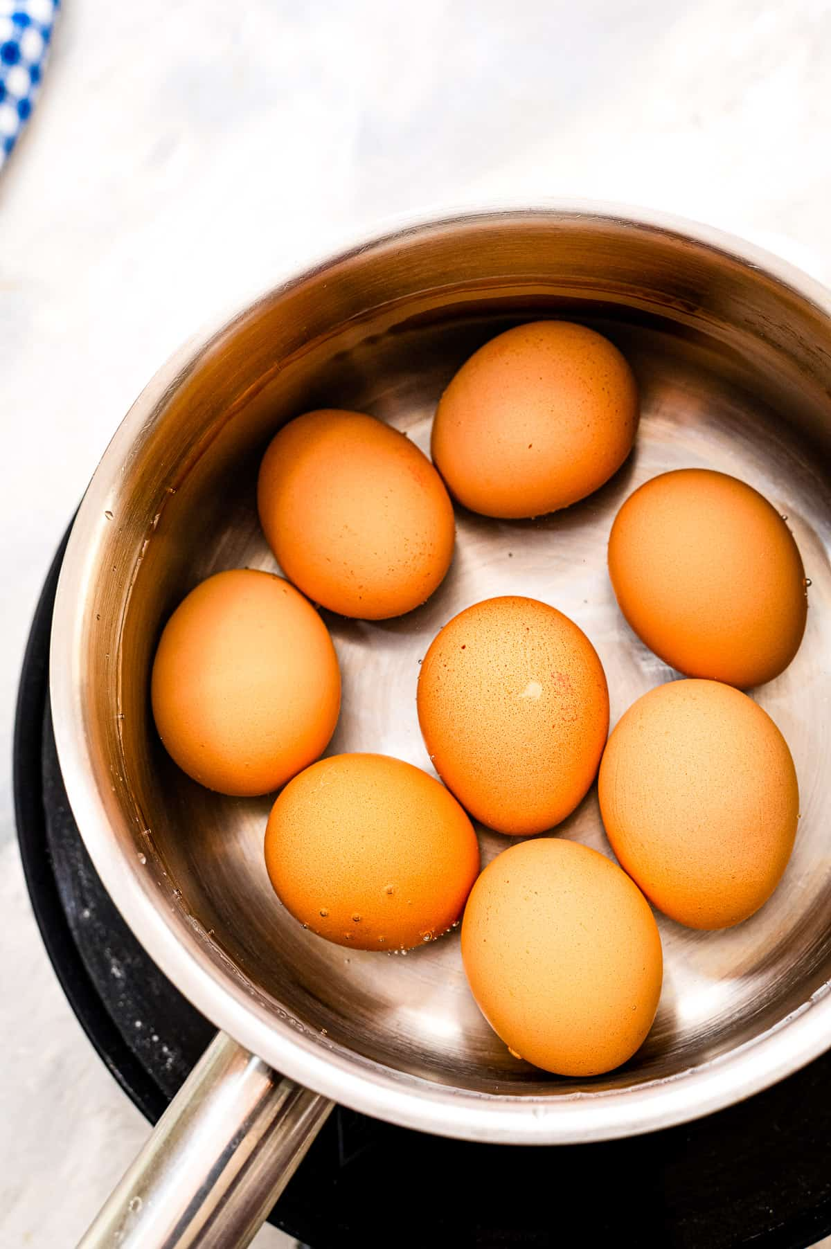 Overhead image with saucepan full of water and brown eggs