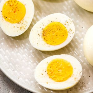 Hard Boiled Eggs cut in half Square cropped image
