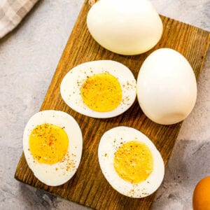 Square cropped image of hard boiled eggs