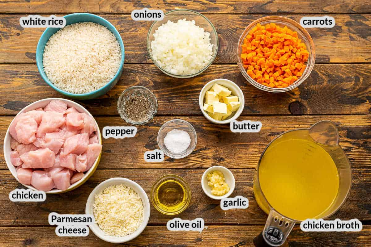 Overhead image of Instant Pot Chicken and Rice Ingredients in bowls