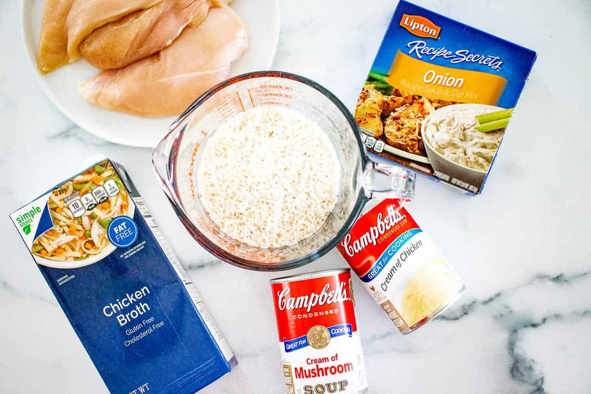 Overhead Image of No Peek Chicken and Rice Ingredients
