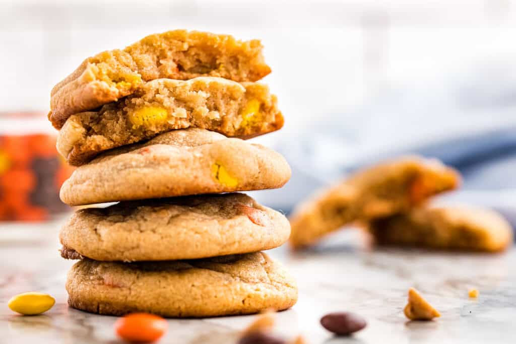Stack of Peanut Butter Cookies with Reese's Pieces