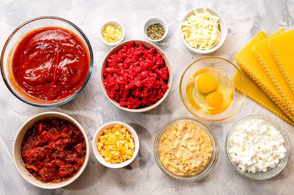 Overhead image of Skillet Lasagna Ingredients