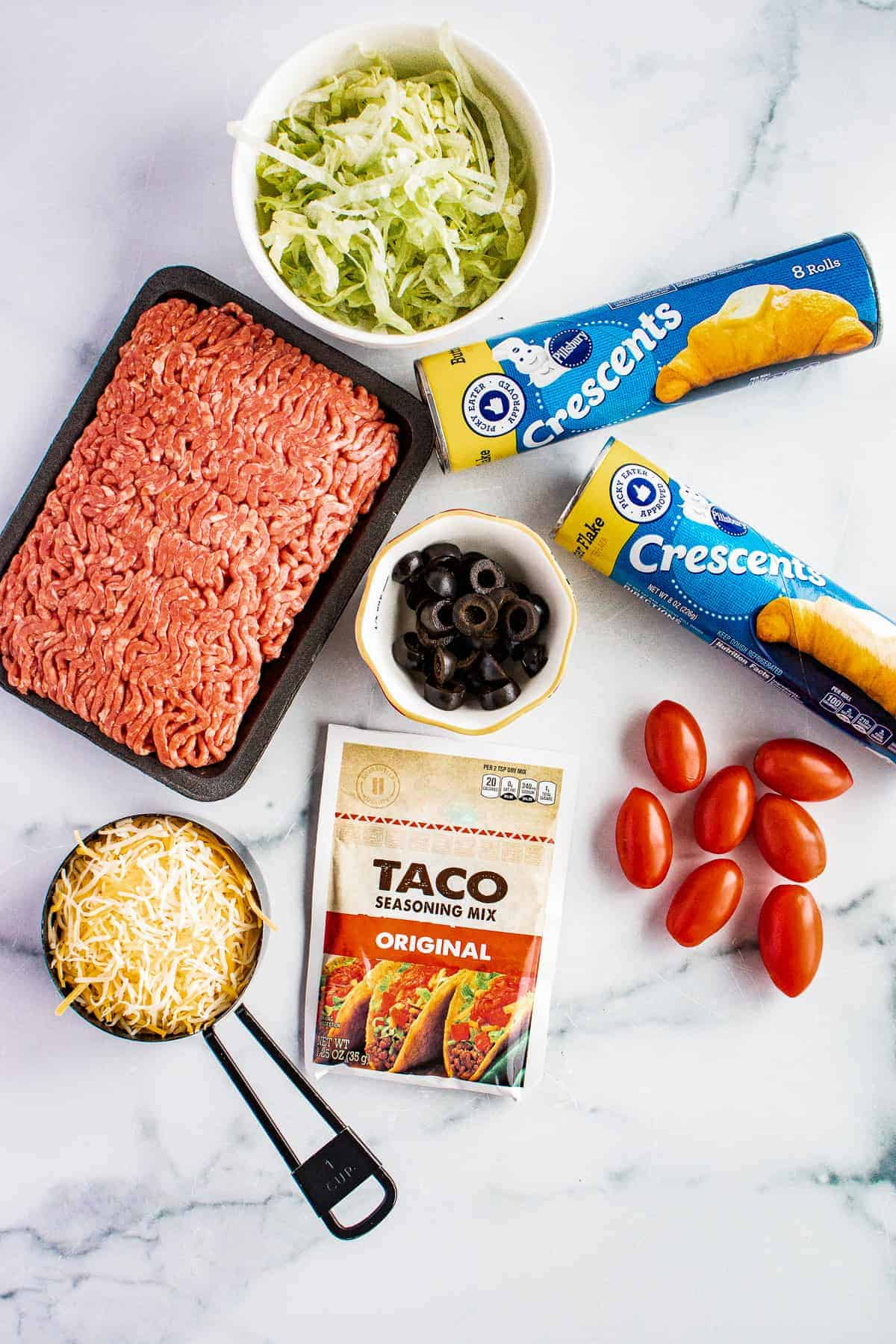 Overhead image of Taco Ring Ingredients