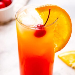 Tequila Sunrise Cocktail cropped close in glass