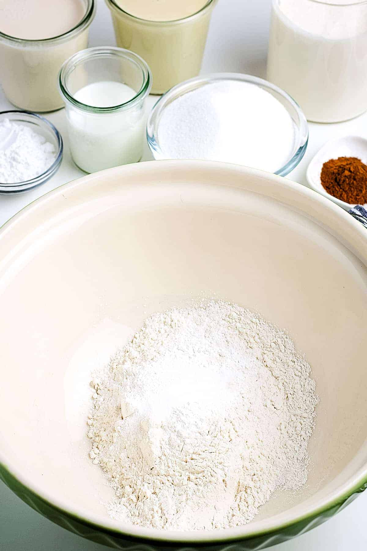 Dry ingredients for tres leche cake