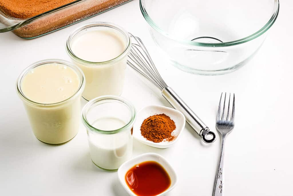 Ingredients for Tres Leche Cake Syrup
