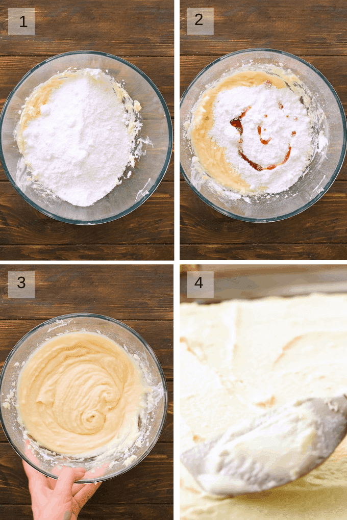 Cream cheese frosting steps to prepare collage