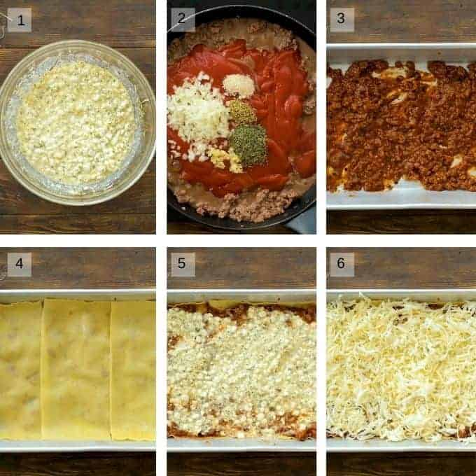 Image showings steps to prepare lasagna