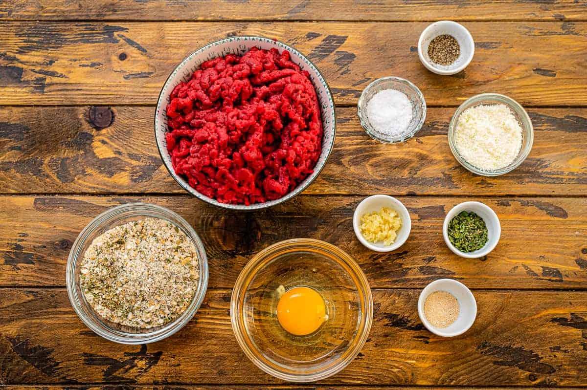 Overhead Image of Air Fryer Meatballs Ingredients