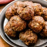 Air Fryer Meatballs on plate Square cropped image