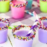 Birthday Cake Shots with mini straws in them