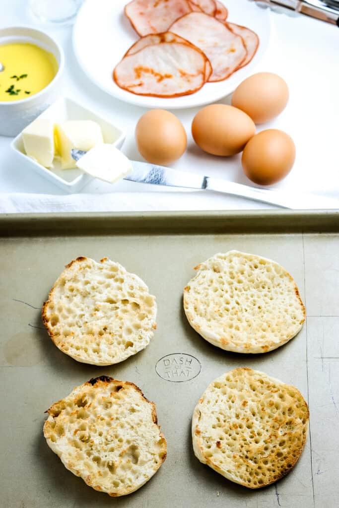 Toasted English Muffins on sheet pan