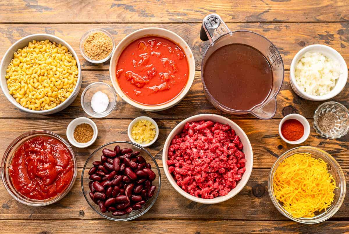 Instant Pot Chili Mac Ingredients