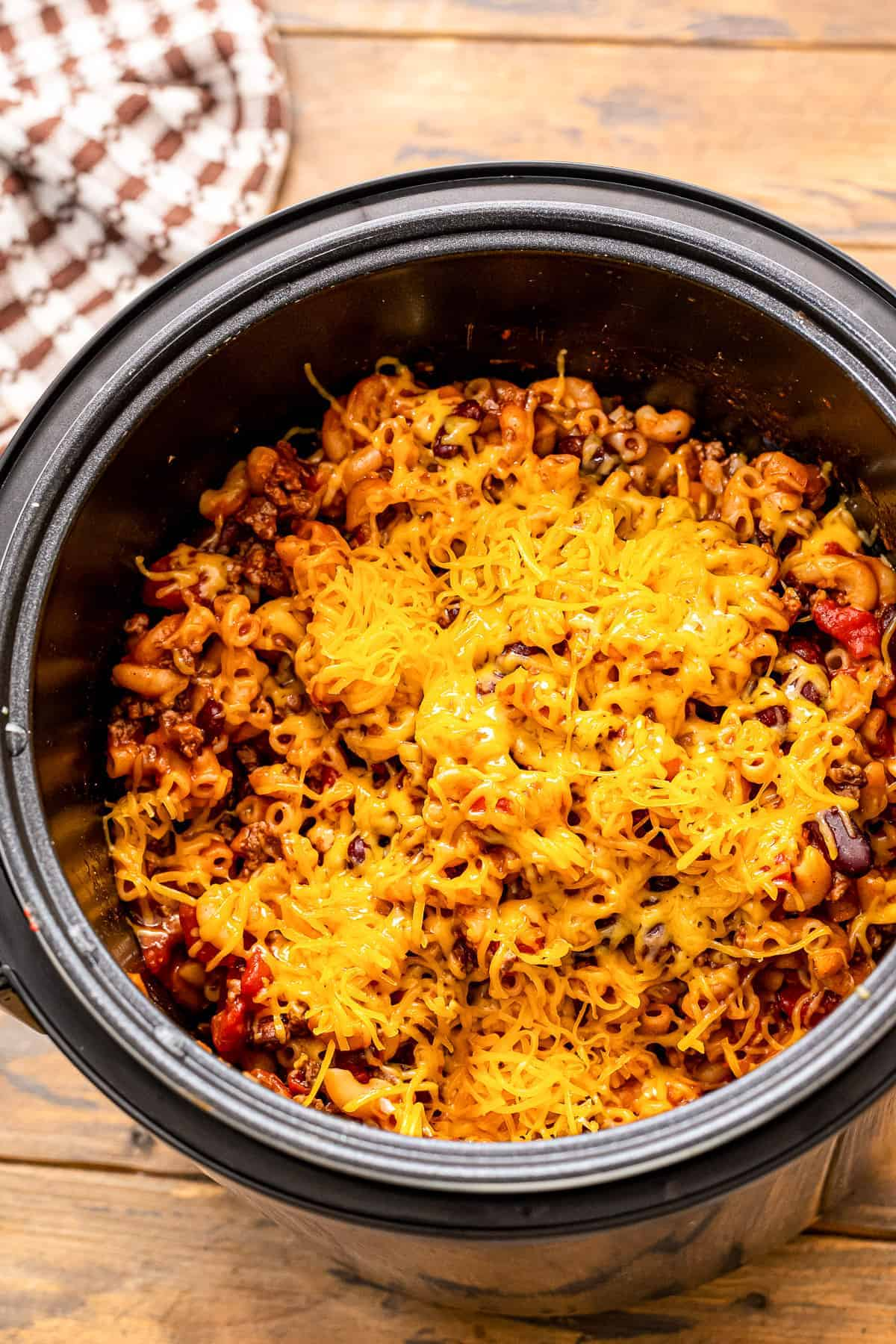 Chili Mac with cheese on top in pressure cooker