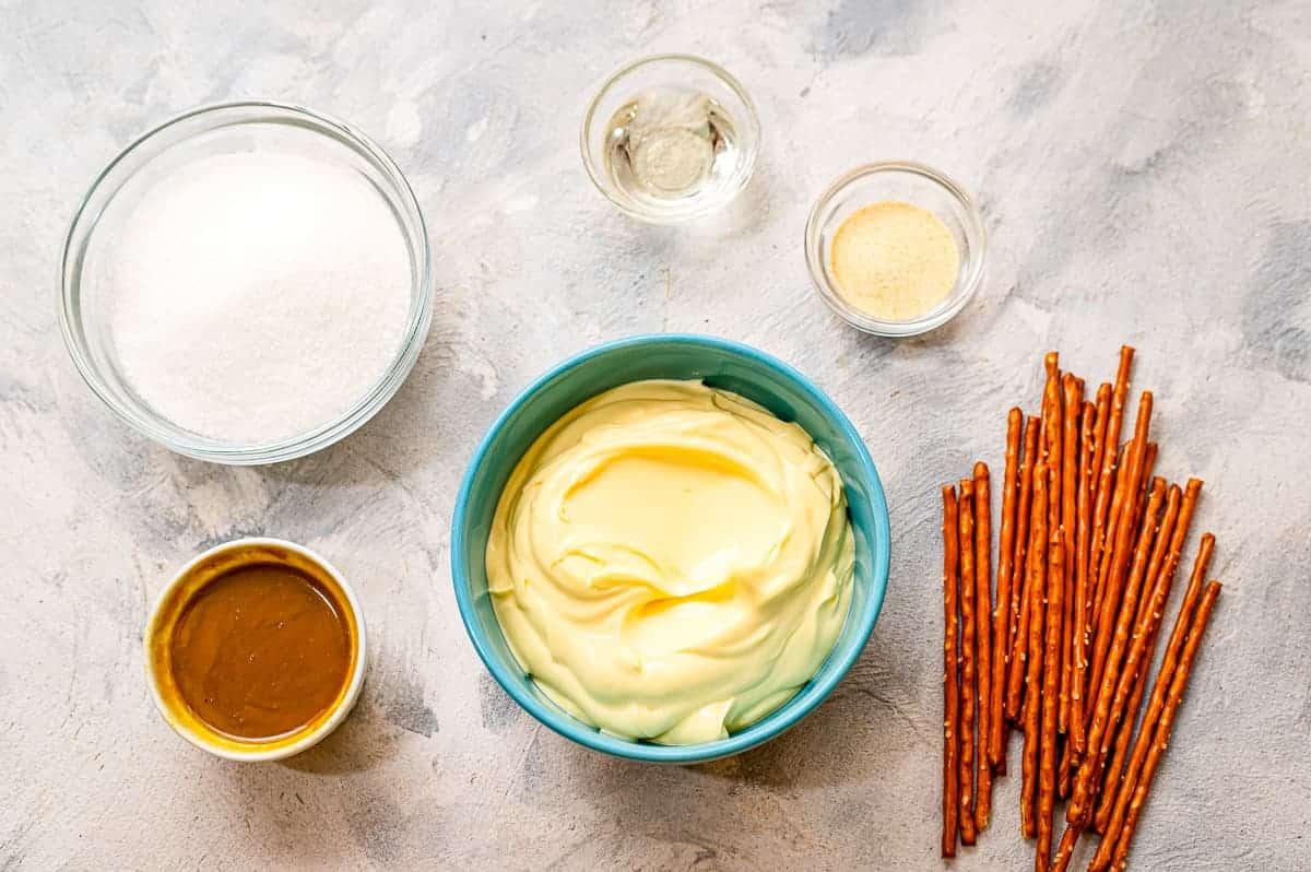 Overhead image of Honey Mustard Pretzel Dip Ingredients