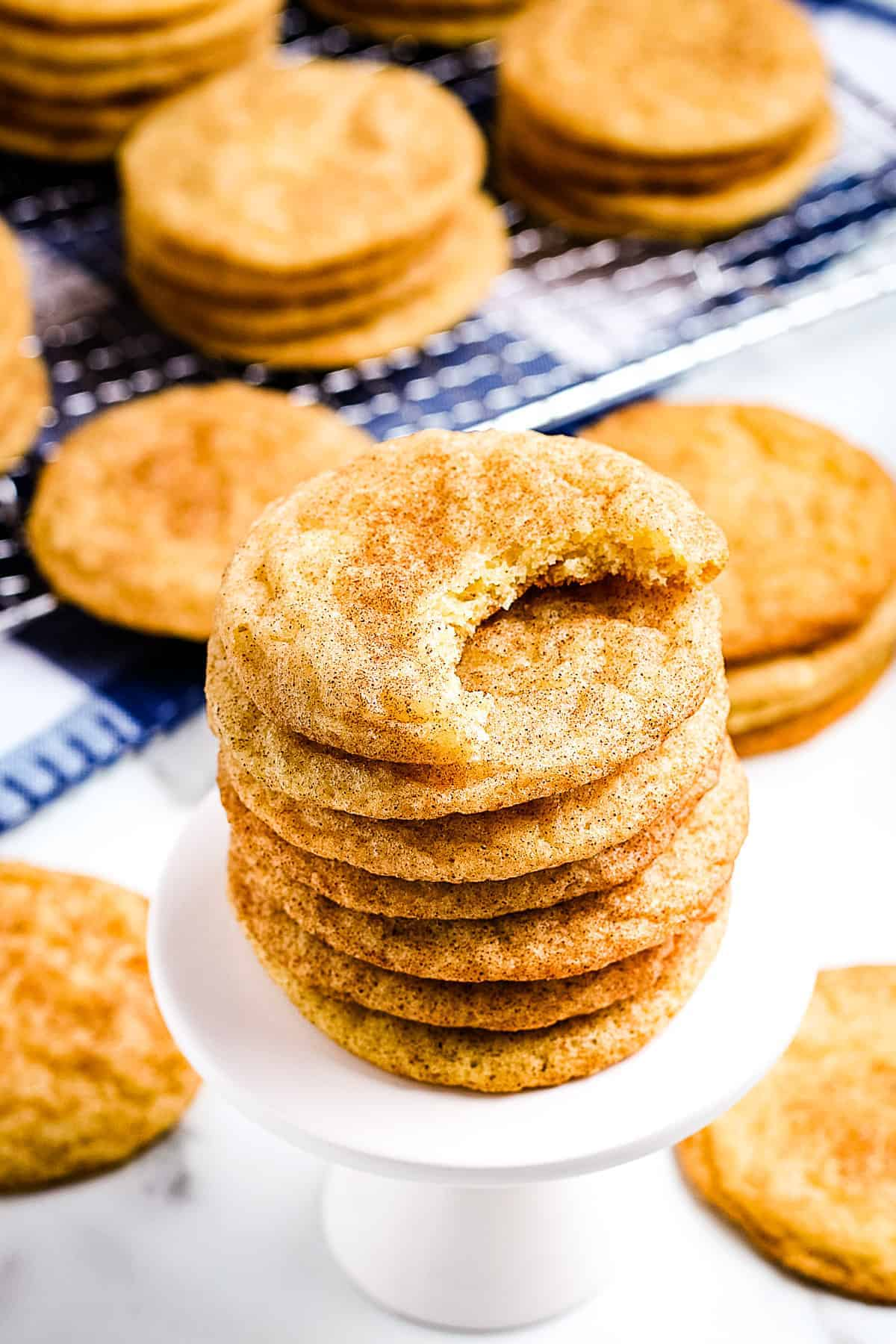 Snickerdoodle Cookies on white mini stand