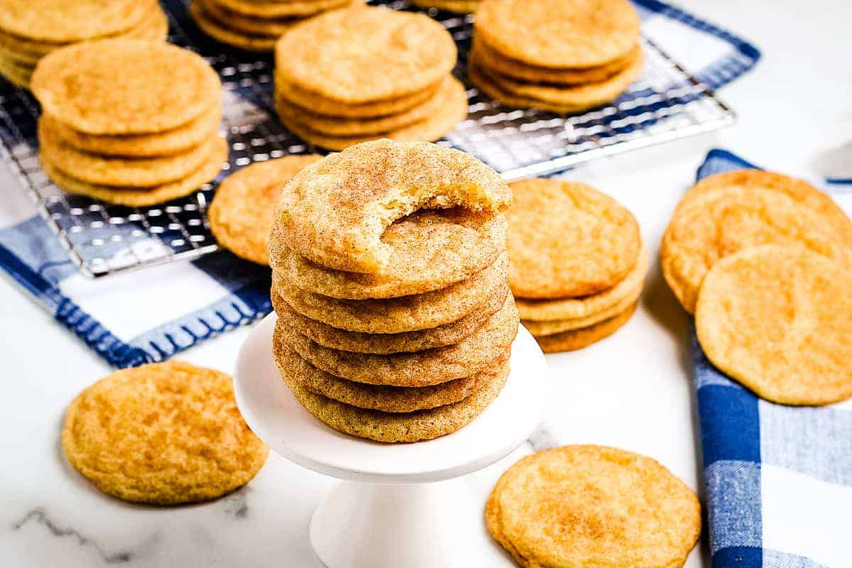 Snickerdoodle cookies on a white mini cake stand