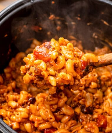 Spoon of chili mac over an Instant Pot