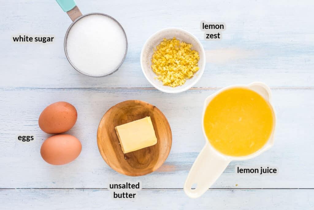 Overhead image of lemon curd Ingredients
