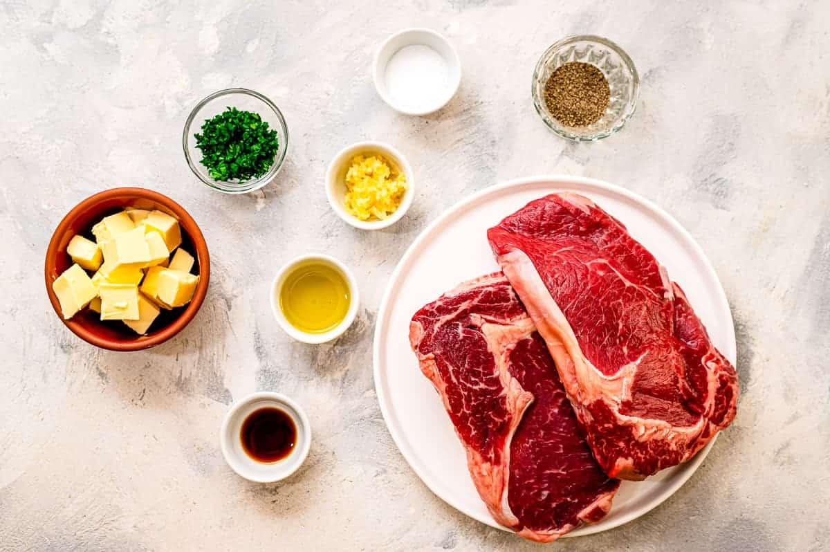 Overhead Image of Air Fryer Steaks Ingredients