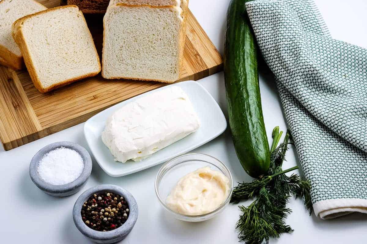 Overhead Image of Cucumber Sandwich Ingredients